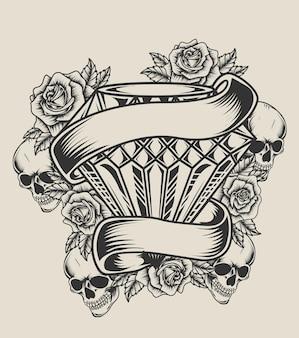 Illustration diamond skull rose monochrome style