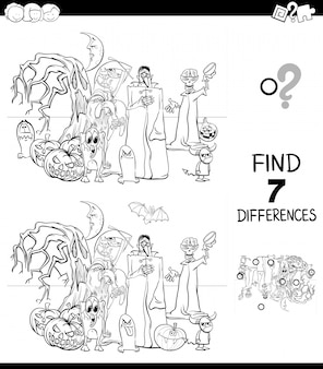 Illustration of differences game with halloween characters