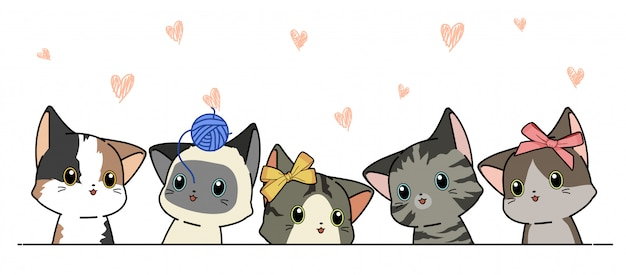 Illustration of different cat characters in cartoon style