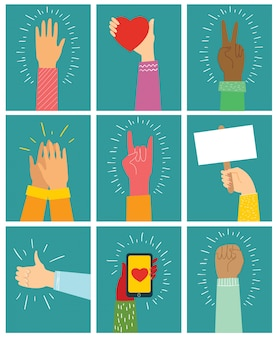 Illustration of different hands up . concept of unity, protest, love, easter, smartphone, friendship, revolution, fight, cooperation. flat outline design