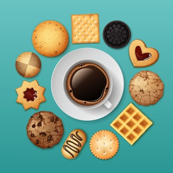 Illustration of different sweet biscuits