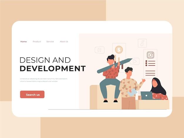 Illustration of digital agency team landing page template