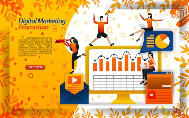 Illustration of digital marketing promotion with e-mail and video