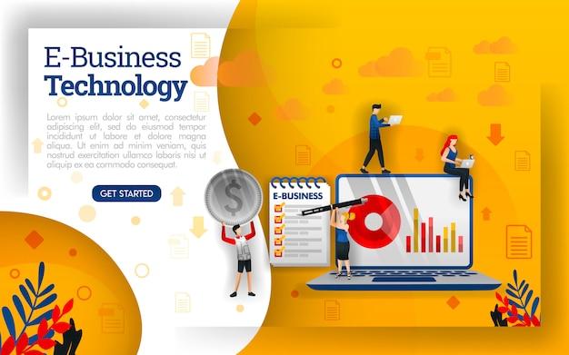 Illustration of digital technology business or e-business