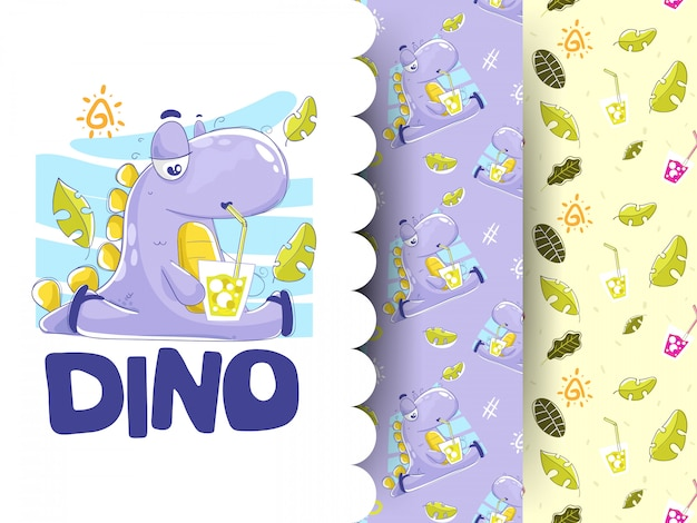 Illustration of dino drinking soda with patterns background
