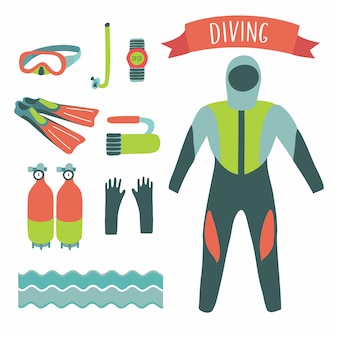 Illustration of diving elements set on white