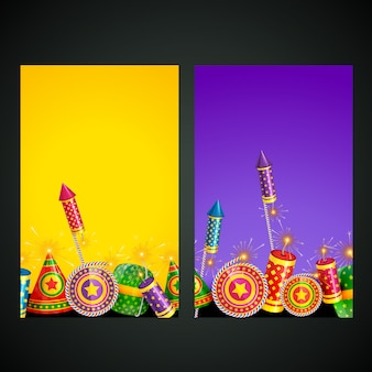 Illustration of diwali card set