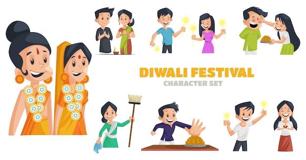 Illustration of diwali festival character set