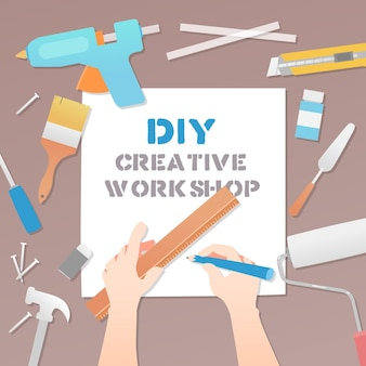 Illustration of diy creative workshop