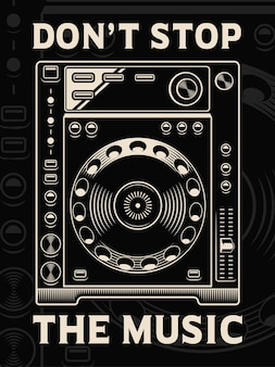 Illustration of dj player on dark background. text is on the separate group.