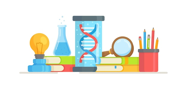 Illustration of dna test verification. physical instruments. illustration pictograph of a dna symbol isolated