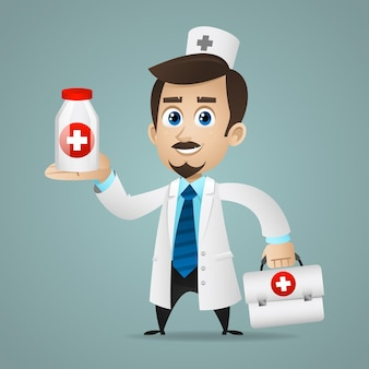 Illustration, doctor holds briefcase and tablets, format eps 10