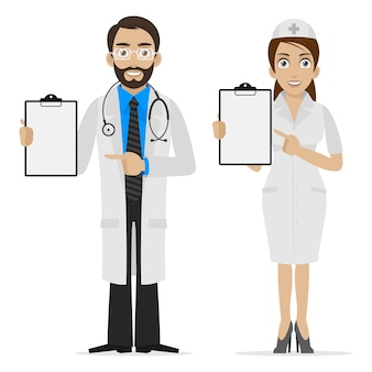 Illustration doctor and nurse specifies on form, format eps 10