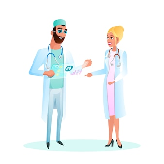 Illustration doctor standing studying patient card