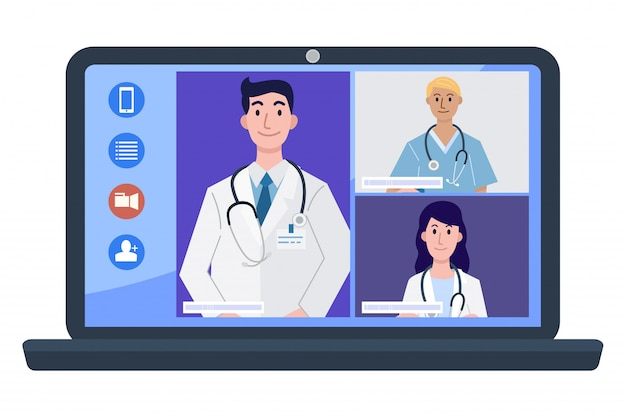Illustration of doctors and nurse at video conference on laptop.