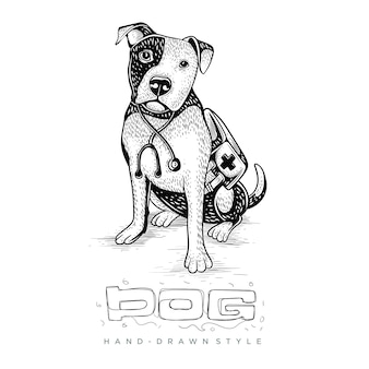 Illustration of a dog as a doctor. hand drawn animal illustrations