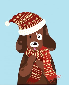 Illustration of a dog in a hat and scarf. stylized happy dog in winter.