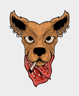 Illustration dog head with gangster style