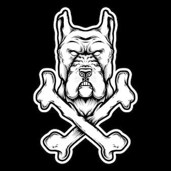 Иллюстрация собака питбуль голова с костью. дизайн