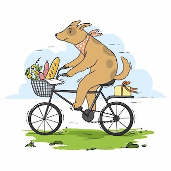 Illustration dog rides a bicycle for a picnic
