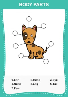Illustration of dog vocabulary part of body,write the correct numbers of body parts.vector