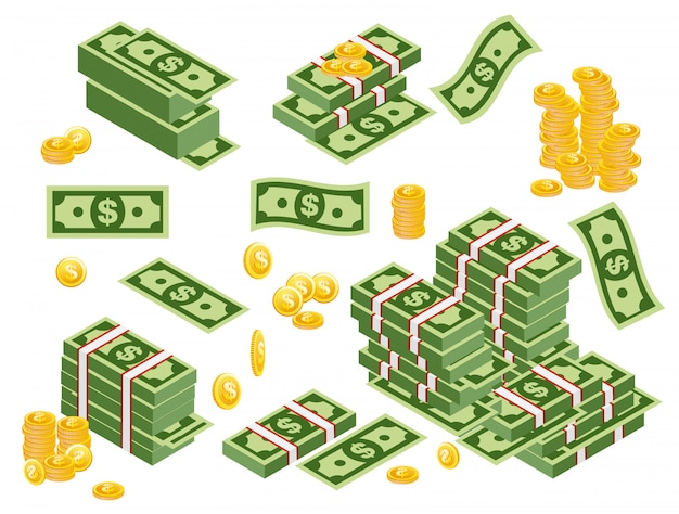 Illustration of dollars bundles scattered, stacked with different sides isolated on white background. dollars banknotes with coins set in flat style.