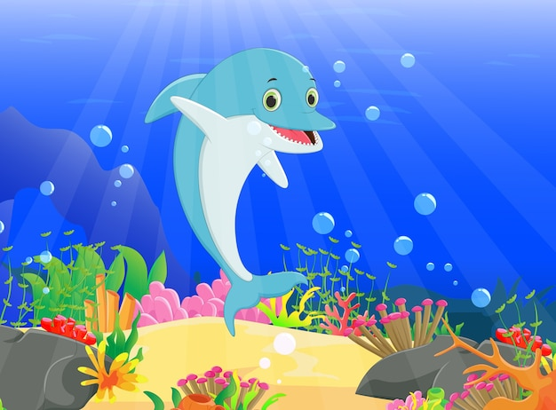 Illustration of dolphin with a beautiful underwater world