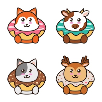 Illustration of a donut with an animal cartoon style