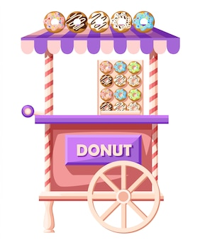 Illustration of donuts car. mobile retro vintage shop truck icon with signboard with big donut with tasty glaze. van side view,  on white background. street donuts truck.