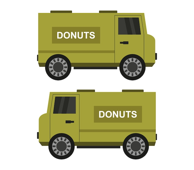 Illustration of donuts delivery trucks