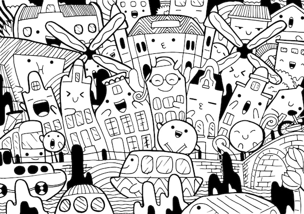 Illustration of doodle amsterdam cityscape in cartoon style