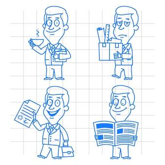 Иллюстрация, каракули бизнесмен, бизнес и развитие, формат eps 10