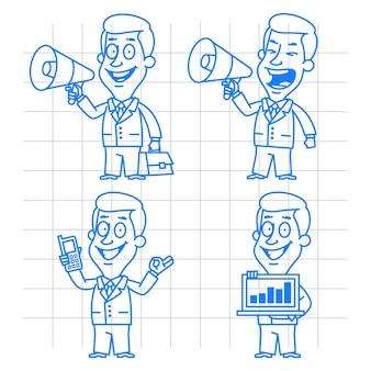Иллюстрация, каракули бизнесмен коммуникации и технологий, формат eps 10