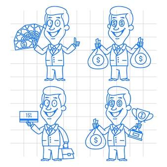 Иллюстрация, каракули бизнесмен деньги и вознаграждение, формат eps 10