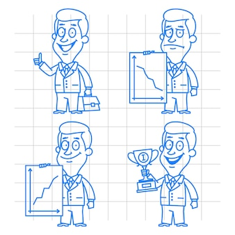 Illustration, doodle businessman success and failure, format eps 10