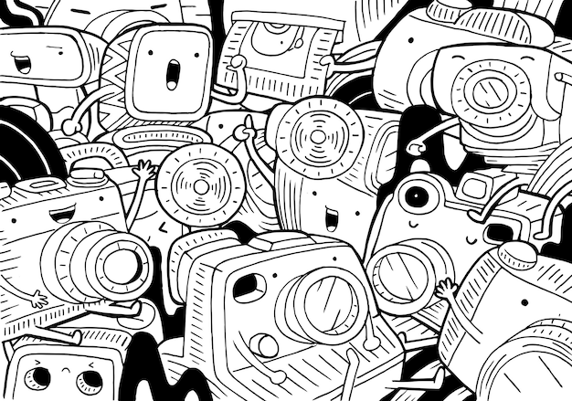 Illustration of doodle camera in cartoon style