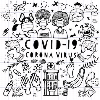 Illustration of doodle cute for corona virus, hand drawn line tools drawing