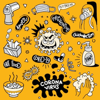 Illustration of doodle cute for covid-19 , corona virus doodle element for infographic design