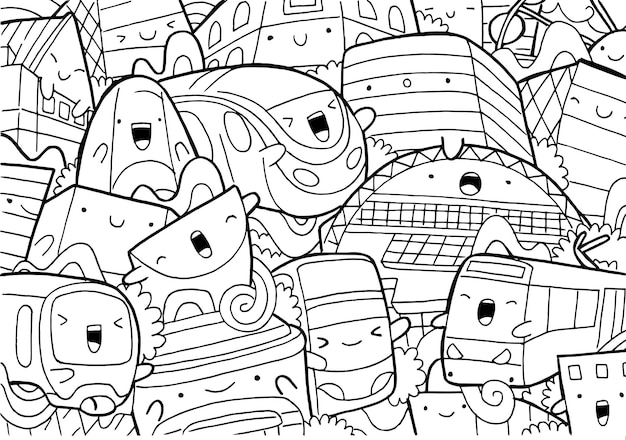 Illustration of doodle manchester cityscape in cartoon style