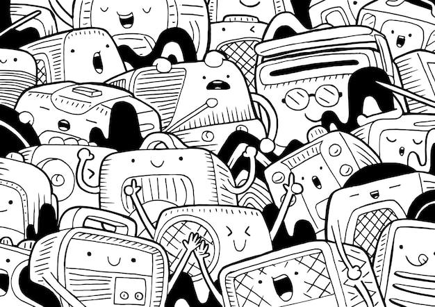 Illustration of doodle radio in cartoon style
