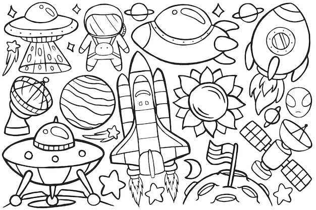 Illustration of doodle space in cartoon style