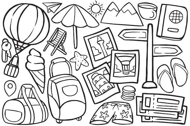 Illustration of doodle travel in cartoon style