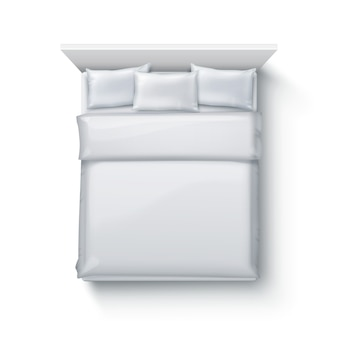Illustration of double bed with soft duvet, bedding and pillows on white background, top view
