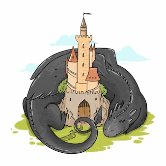 Illustration of a dragon lying near the castle