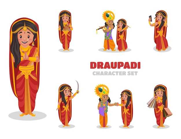 Illustration of draupadi character set