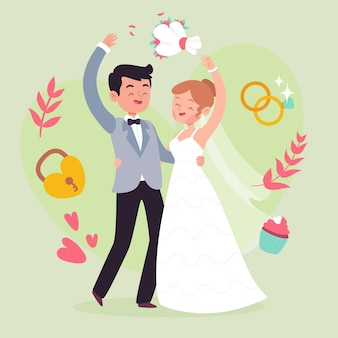 Illustration draw with wedding couple
