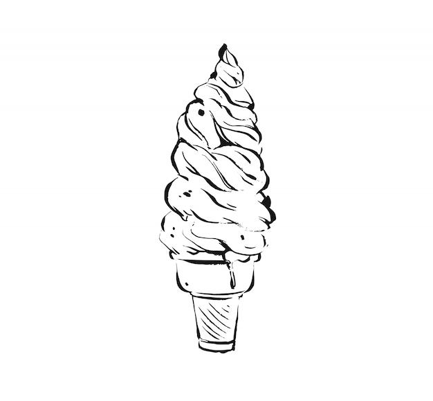 Illustration drawing of big waffle ice cream cone isolated on white background.kids menu concept