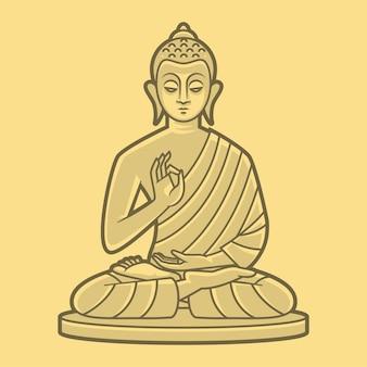 Illustration, drawing buddha meditates, format eps 10