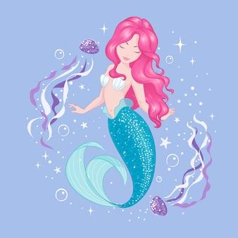 モダンなスタイルで描くイラスト。クラゲとかわいい人魚。