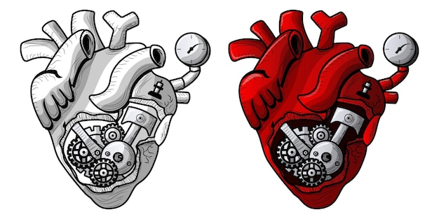 Illustration drawing of machine heart with sketch and full color for posters or clothes designs